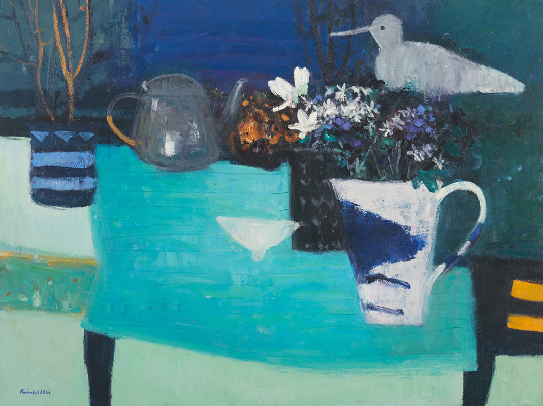 Still Life with Bird and Pewter Teapot 24x32 2016