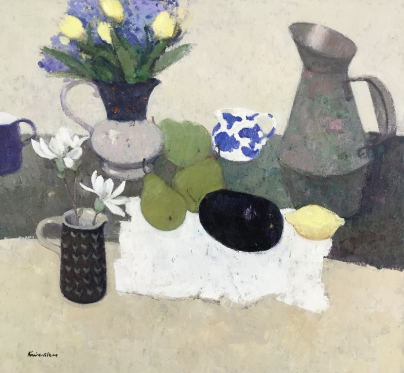 Still Life with Blue and White Jug.        26x26