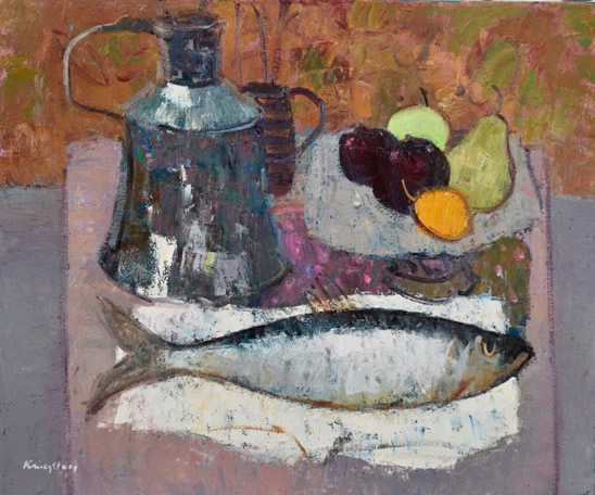 Still Life with Fish Fruit and water jug 20x24