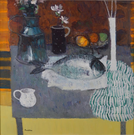 Still Life with Fish and Striped Cloith 28x28