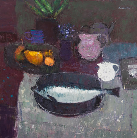Still Life with Fruit and Fish 26x26