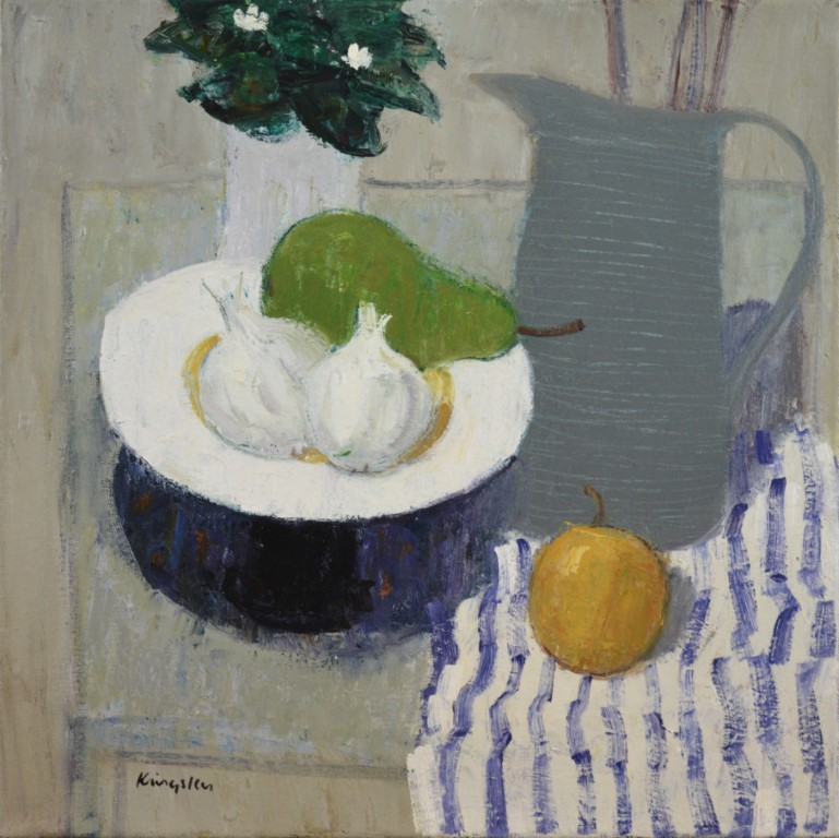 Still Life with Garlic and Striped Cloth. 16x16